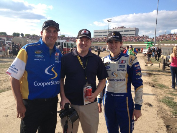 (Left to Right) Charli Brown, Joshua Guiher and Ryan Blaney at Eldora Speedway before the start of the CarCash Mudsummer Classic Presented by CNBC Prime's 'The Profit' on July 24, 2013 [Charli Brown]
