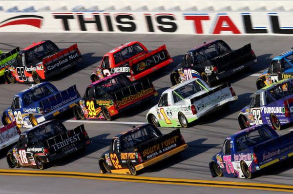 Parker Kligerman races in a pack at Talladega Superspeedway on October 19, 2013 [NASCAR Media]