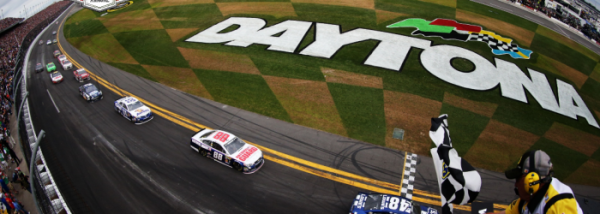 Jimmie Johnson crosses the line as the winner of the 2013 Daytona 500 [NASCAR Media]