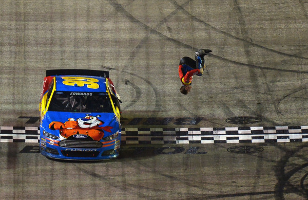 Car Edwards Flips For His Fans Following Food City 500 Victory [Getty Images for NASCAR]