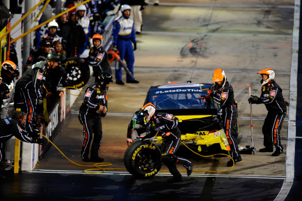 Photo of the damage to Matt Kenseth's No. 20 car after being hit from behind by Timmy Hill at Bristol Motor Speedway on March 16, 2014. [NASCAR Media]