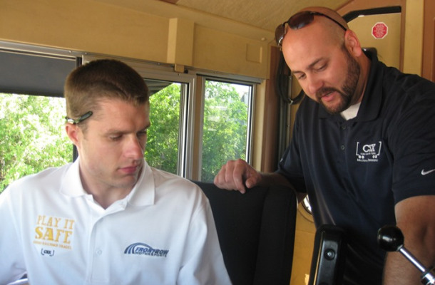 David Ragan learns how to operate a train during a visit to CSX in this undated photo [Breaking Limits LLC]