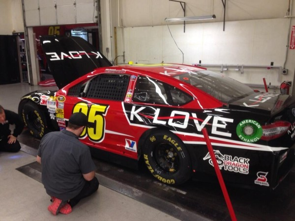 Michael McDowell tweeted this photo of his No. 95 K Love Ford for the Daytona 500 on February 23, 2014 [Michael McDowell]